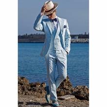 2017 New Groomsmen Notch Lapel Groom men Tuxedos Baby Blue Mens Suits Wedding Best Man Blazer suit ( Jacket+Pants+Tie+Vest )
