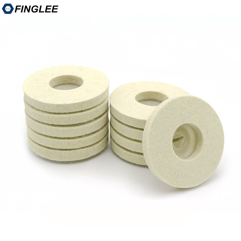 FINGLEE 10 pz 4 pollici lana feltro lucidatura ruota smerigliatrice - Utensili elettrici - Fotografia 2