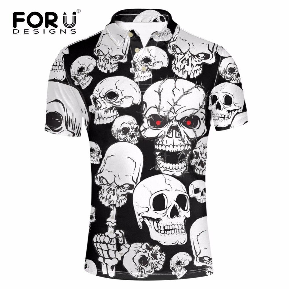 FORUDESIGNS Skull Heads Printed font b Polos b font Man Clothes Brand clothing Camisa Masculina font