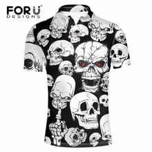 FORUDESIGNS Skull Heads Printed Polos Man Clothes Brand-clothing Camisa Masculina Men Shirt Summer Short Sleeve Breathable Polos