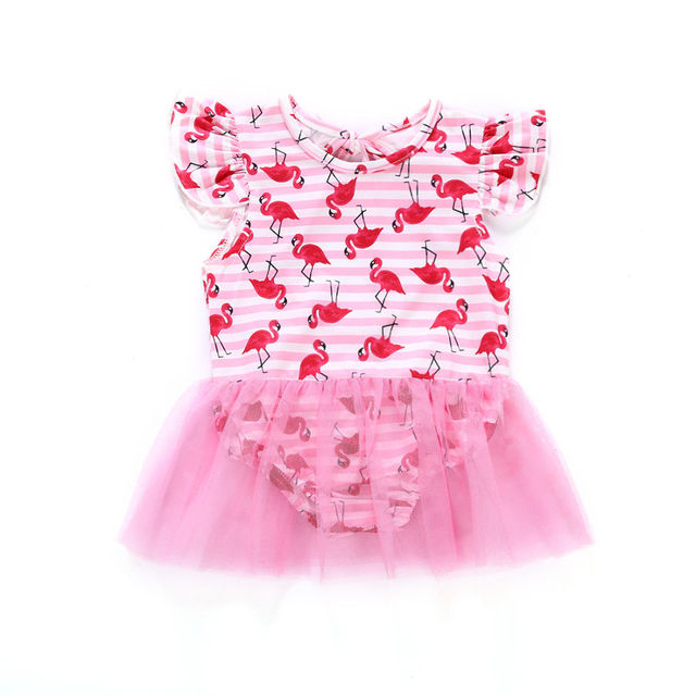 b4d3c359a2 Bebê recém-nascido Meninas Flamingo Swimwear One-piece Swimsuit Banho  Beachwear Bodysuits Verão Bebê