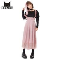 Vintage hoge taille chiffon losse kant decoratie hoge taille bretels breed been overalls vrouwen enkellange broek bib broek