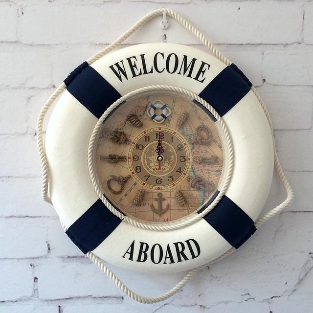 20CM/30CM/35CM Mediterranean Style Painting Cloth Lifebuoy Clock 1PC Needle Wall Clocks Home Decor Pendant