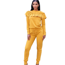 Elegant Ruffles Women Jumpsuits Autumn Winter Two Piece Long Sleeve Set Womens Fashion Casual