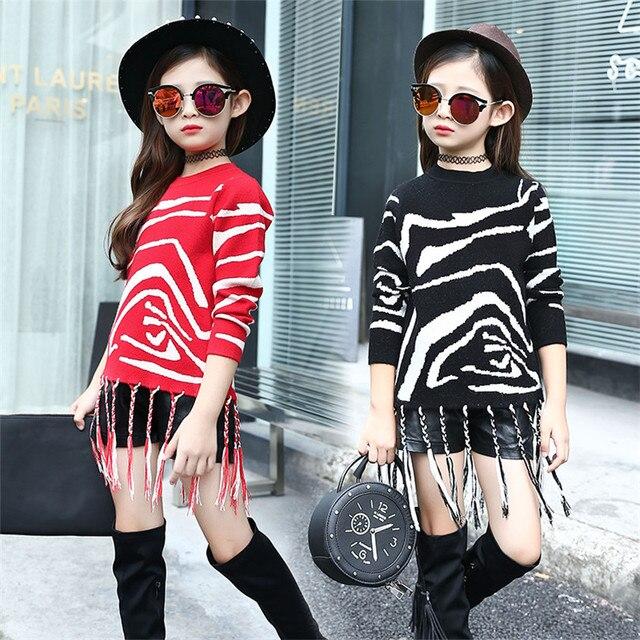 Zebra Sweater for Kids Girl 2016 New Winter Fashion Tassel Sweater Children Girls's Lovely Clothing Vintage Knitted Sweater