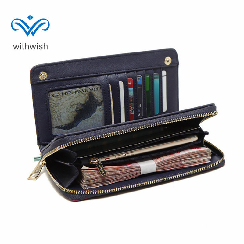 Waterproof OL Zipper Wallet Long Section Women Purse Wallet PU Leather Multi-function Card Bag Clutch Bag 19.5*10.5*2cm CNP Free