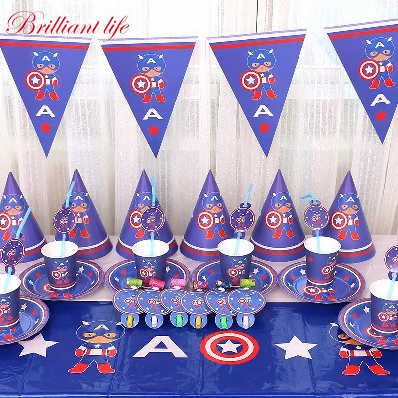 Captain America Theme 107pcs/lot Boy Birthday Wedding Party Cup Plate Gift Bag Tablecover Decoration Party Tableware Supply