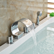 Deck Mount Waterfall Roman Tub Mixer Faucet Widespread Bathroom Tub Filler with Handshower