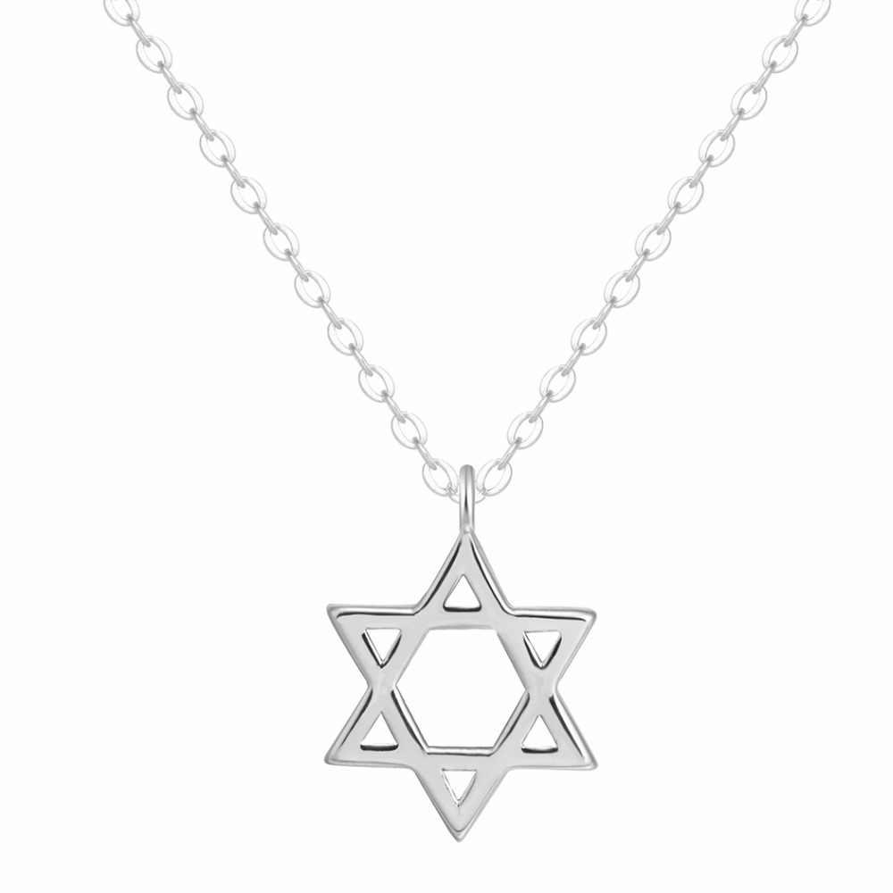 Kinitial prata cor david estrela hexagonal pingentes colares para mulher gota mujer longa corrente colier jóias geométricas