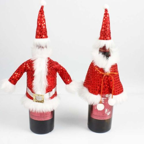 sequins christmas santa wine bottle cover bag sweater clothes party decor xmas ornaments in wine bottle covers from home garden on aliexpresscom