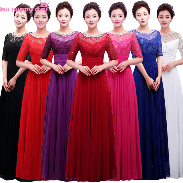 Women Long Elegant Formal Simple Bridesmaids Fushia Fuchsia Dresses Chiffon Gown Ball Party Dress With