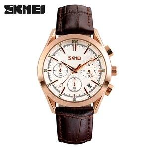 Image 2 - SKMEI marque de luxe hommes mode Sport décontracté montres hommes étanche en cuir Quartz montre homme militaire horloge Relogio Masculino