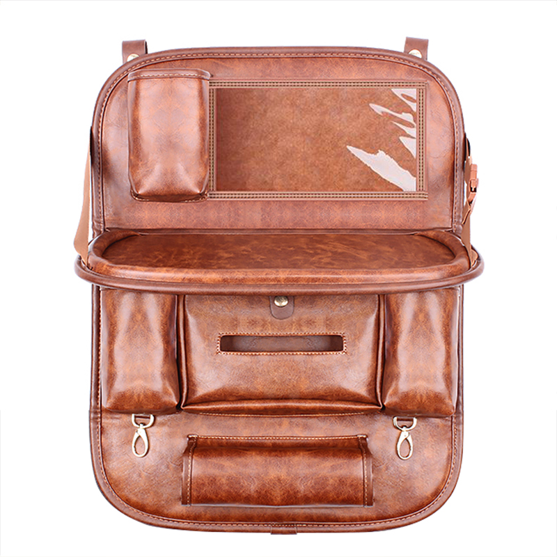 2018 NEW Genuine Leather Car Storage Bag Universal Seat Back Hanging Organizer Food Drink Container Backseat Protector for kids genuine leather car storage bag organizer universal back seat bags backseat trunk travel holder box pockets protector for kids