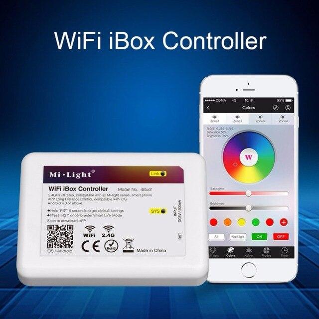 Contrôleur sans fil de gradateur de câble d'usb de LED de contrôle de Milight WiFi iBox2 pour la série légère de Mi RGBW WW/CW ampoule Downight rvb/RGBW