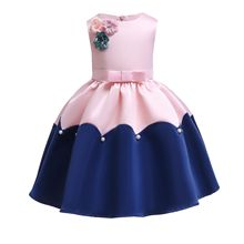 Appliques Flowers Princess Dress for Wedding Party Embroidery Flowers Pink Princess Dress for Birthday Children Formal Clothes 2017 new korean sweet pink blue color girls princess party dress children kids wedding birthday flowers dress pageant clothes