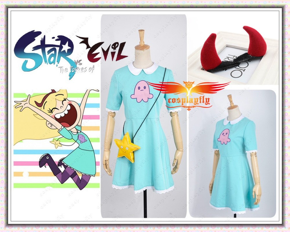 In Stock Star Vs.the Forces Of Evil Magic Princess Star Butterfly Adult Dress Cosplay Costume Socks Star Bag /Red Devil Hairpin