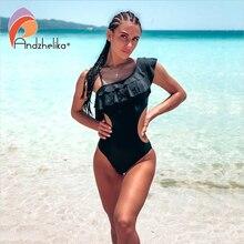 Andzhelika kobiety jednoczęściowy strój kąpielowy wzburzyć stroje kąpielowe body 2020 lato Sexy drążą strój kąpielowy Monokini