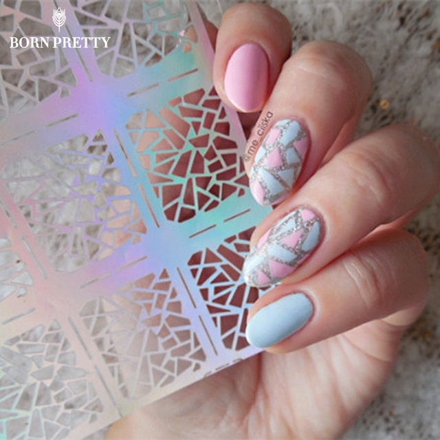 1 Sheet Irregular Pattern Nail Vinyls Rose Triangle Manicure Nail ...