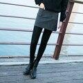 2016 Otoño Invierno Moda Mujeres A-Line de La Falda Sólido Elástico Mediados de Cintura Por Encima de La Rodilla Falda de Lana