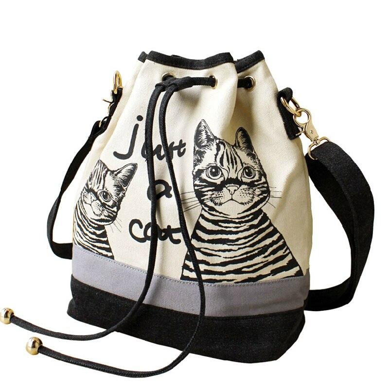 100Pcs/Lot Bags Spanish Canvas Bucket Bag Handbag Retro Canvas Shoulder Bag Vintage Print Cat Bags