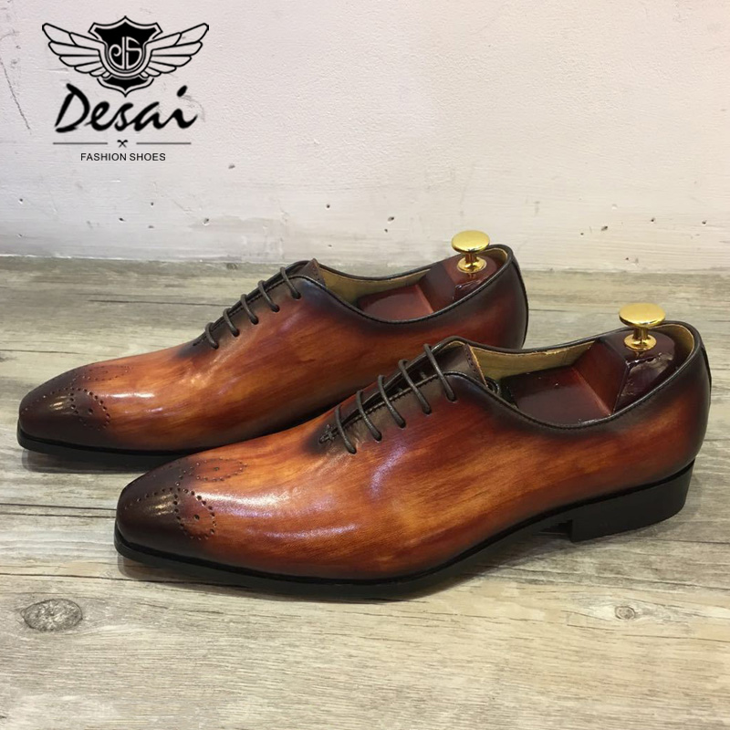 DESAI Men s Dress Shoes Leather Office Business Wedding Handmade Mixed Color Brogue Formal Pointed Toe