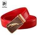 Cintos Clássicos para Homens 2017 de Alta Qualidade Oco vermelho Homens Cinto de Fivela Automática cinto de Couro Genuíno Cinta Luxo Casual Cós B6