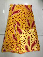 5Y/pc Luxury yellow elastic silk chiffon african smooth and soft velvet lace fabric with rhinestone and feather design JV3 2
