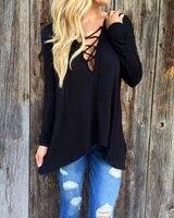Women Clothing 2015 American Apparel Shirts Hooded Long Sleeve Black T Shirt Bandage Cross Fashion Sexy
