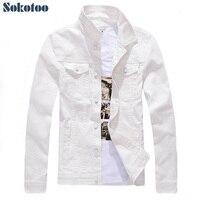 Sokotoo Men's slim full sleeve all match denim jean jacket Casual black white fancy colored coat Outerwear