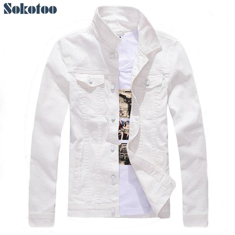 Sokotoo hommes slim manches complètes tout match denim jean veste décontracté blanc fantaisie couleur manteau survêtement