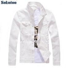 Мужская джинсовая куртка Sokotoo облегающая универсальная куртка с длинным рукавом повседневная черная белая или цветная верхняя одеждаjacket casualdenim jeans jacketsjean jacket  АлиЭкспресс