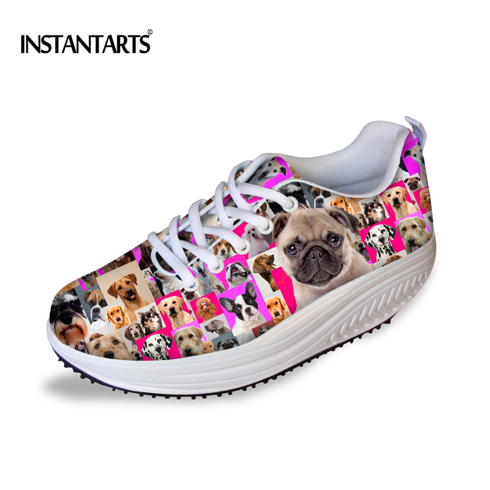 Instantarts Cool Animal Puzzle Pattern Woman Mesh Toning Shoes Breathable Summer Platform Wedge Swing Shoes Slimming Shoes Girls 2019 New Fashion Style Online Fitness & Body Building