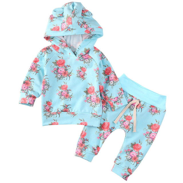 98f742b0 New Red Rose Floral Print Toddler Kids Baby Girl Hooded Sweatshirt Top & Long  Pants 2Pcs Outfits Caual Clothes Set 0-24M
