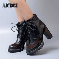 Jady Rose Patchwork Ankle Boots for Women Black Genuine Leather Lace Up Women Platform Pumps Autumn Winter High Heel Botas