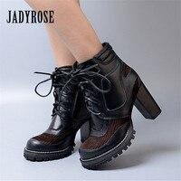 Jady Роза пестрые ботинки из материалов разных фактур для женский, черный из натуральной кожи на шнуровке Для женщин Лодочки на платформе осе