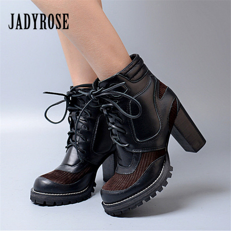 Jady Rose Patchwork Ankle Boots for Women Black Genuine Leather Lace Up Women Platform Pumps Autumn Winter High Heel Botas jady rose sexy black women ankle boots female genuine leather chunky high heel boots lace up women platform pumps autumn botas