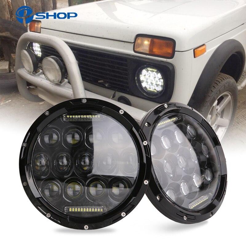 2pcs 75W 7 Led Headlight H4 H13 High Low Beam Round Cars Running Lights for Jeep Lada Niva 4x4