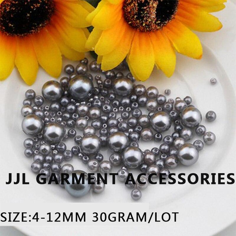 Mix größe 30 Gramm/los Grau Imitation Runde perle perlen Mit loch Annähen Für Kleidung Kleid Handwerk DIY perlen für schmuck