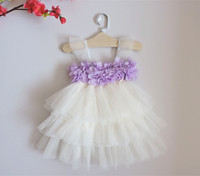 2016 Babies Lace Tutu Party Dresses Kids Girl Mesh 3D Floral Dress Baby Girl Princess Cake