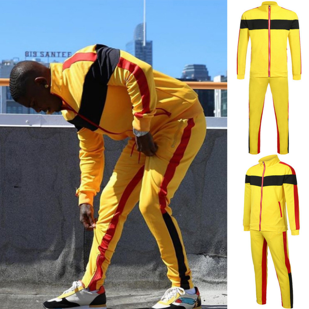 2019 Men's New Fashion Summer Sport Large Size Stitching Color Strip Zipper Pocket Casual Sports Suit Tracksuit Men Tracksuit