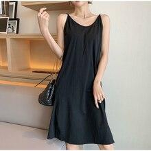 EAD Black Sleeveless Sexy Mini Dress Women Casual Solid Spaghetti Strape Summer Dresses a Line Elegant Sundress Female Vestido
