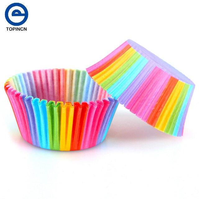 100 stücke Regenbogen Farbe Cupcake Liner Cupcake Papierbackenschalen Muffin-kästen Kuchen Mold Kleine Kuchen box Cup Tray Dekorieren werkzeuge