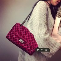 Winter Fashion New Handbags High Quality Velvet Small Square Bag Large Capacity Lingge Leisure Wild Shoulder