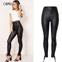 ORMELL Black Lace Up High Waist PU Leather Pencil Pants Women 2018 Fashion Sexy Trousers Back With Zipper Jardineira Feminina