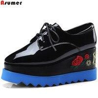 ASUMER Black Fashion Spring Autumn New Pumps Shoes Square Toe Platform Wedges Shoes For Women Genuine