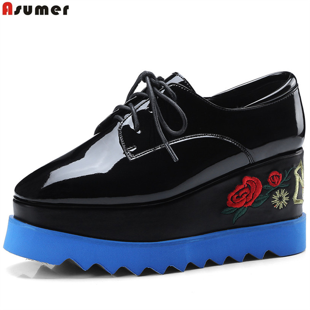 ASUMER black fashion spring autumn new pumps shoes square toe platform wedges shoes for women genuine leather high heels shoes bonjomarisa fashion women genuine leather pumps gladiator square high heels round toe platform shoes