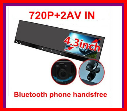 самый дешевый 4.3 Bluetooth зеркало заднего вида видеорегистратор телефон Handsfree +2AV в +сенсорного кнопку камеры поворотный обнаружения движения ночного видения
