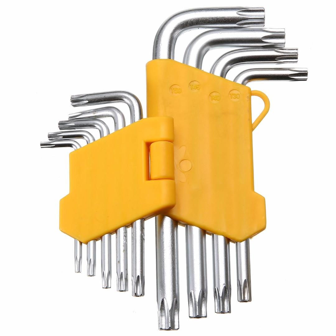 9pcs/set Auto Anti Tamper Proof Torx Star Hex Key Wrench Tool L-Shape T10 T15 T20 T25 T27 T30 T40 T45 T50 High Quality Steel
