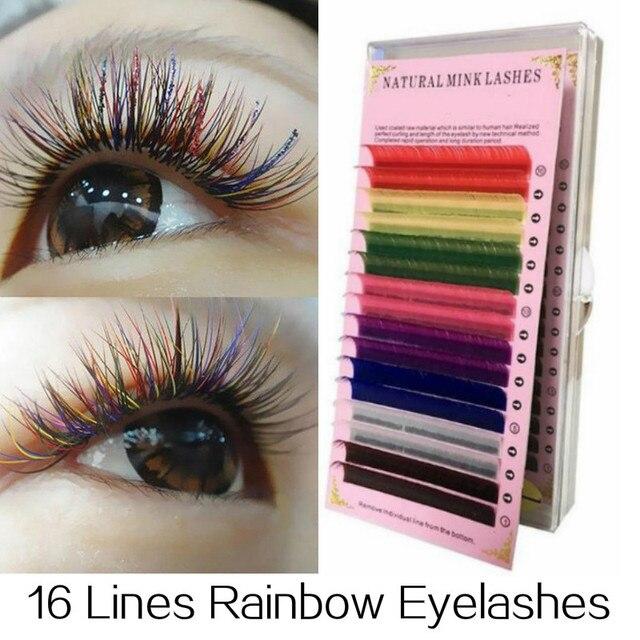 e7517a52fad 16 Rows 8 Colors Rainbow Colored Eyelash Extension Faux Mink Eyelashes  colorful Cilia Eyelash Extension Fake Eye Lashes Grafting