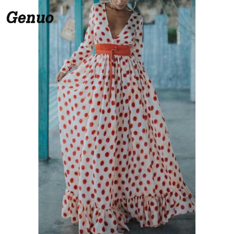 Genuo Plus Size Women Deep V neck Boho Dress Long Sleeve Dot Print Long Maxi Dress Casual Summer Beach Party Holidays Sundress in Dresses from Women 39 s Clothing